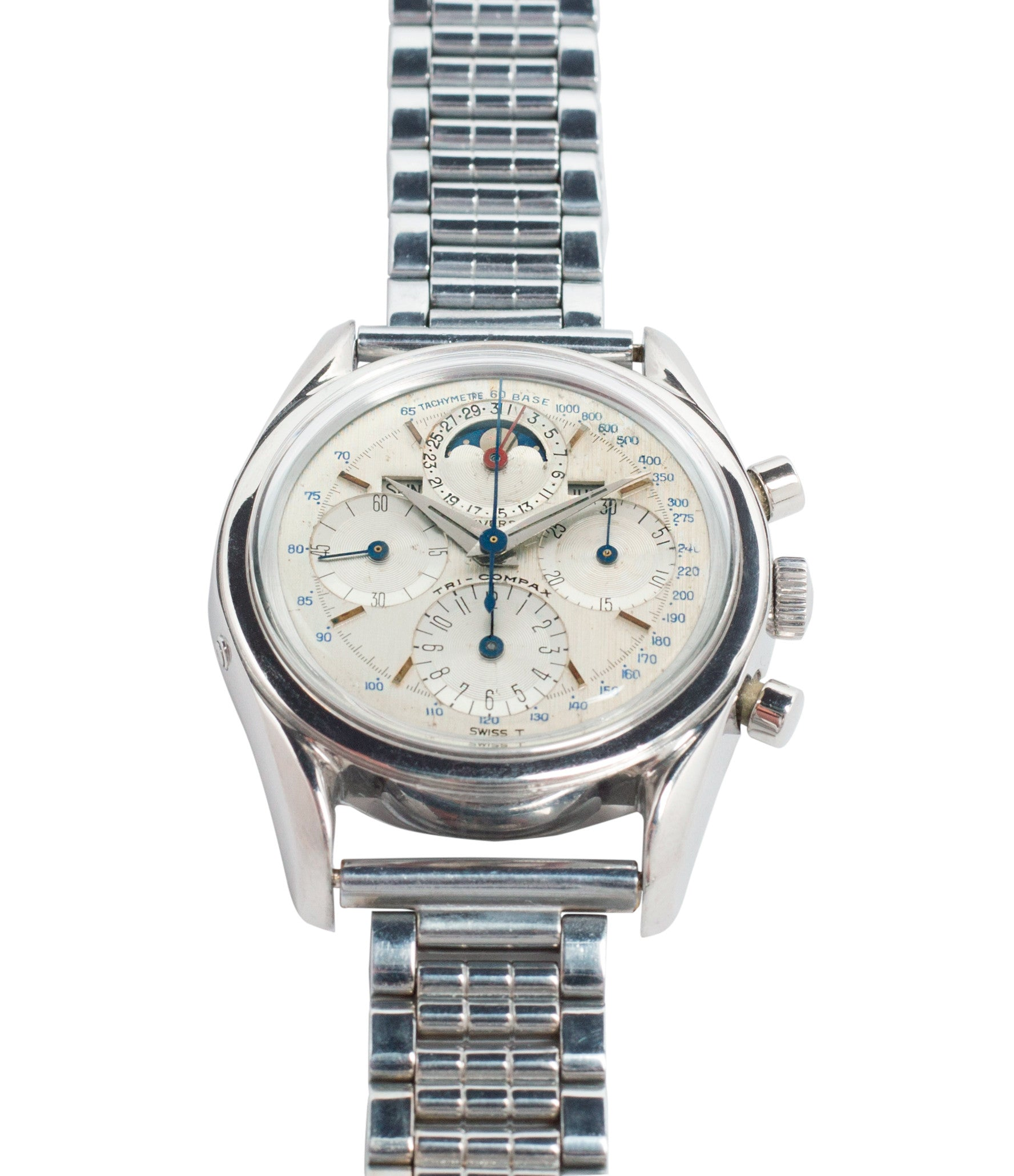 selling Universal Geneve 222100/2 Tri-Compax Triple Calendar Moonphase steel chronograph watch for sale online at A Collected Man London rare vintage watch specialist