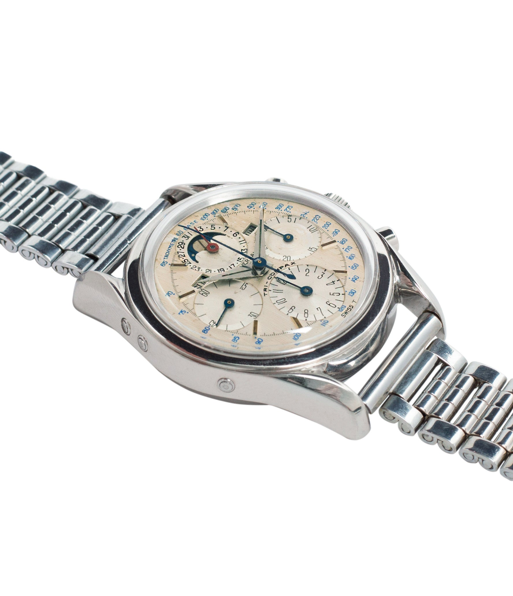 for sale steel Universal Geneve 222100/2 Tri-Compax Triple Calendar Moonphase steel chronograph watch for sale online at A Collected Man London rare vintage watch specialist