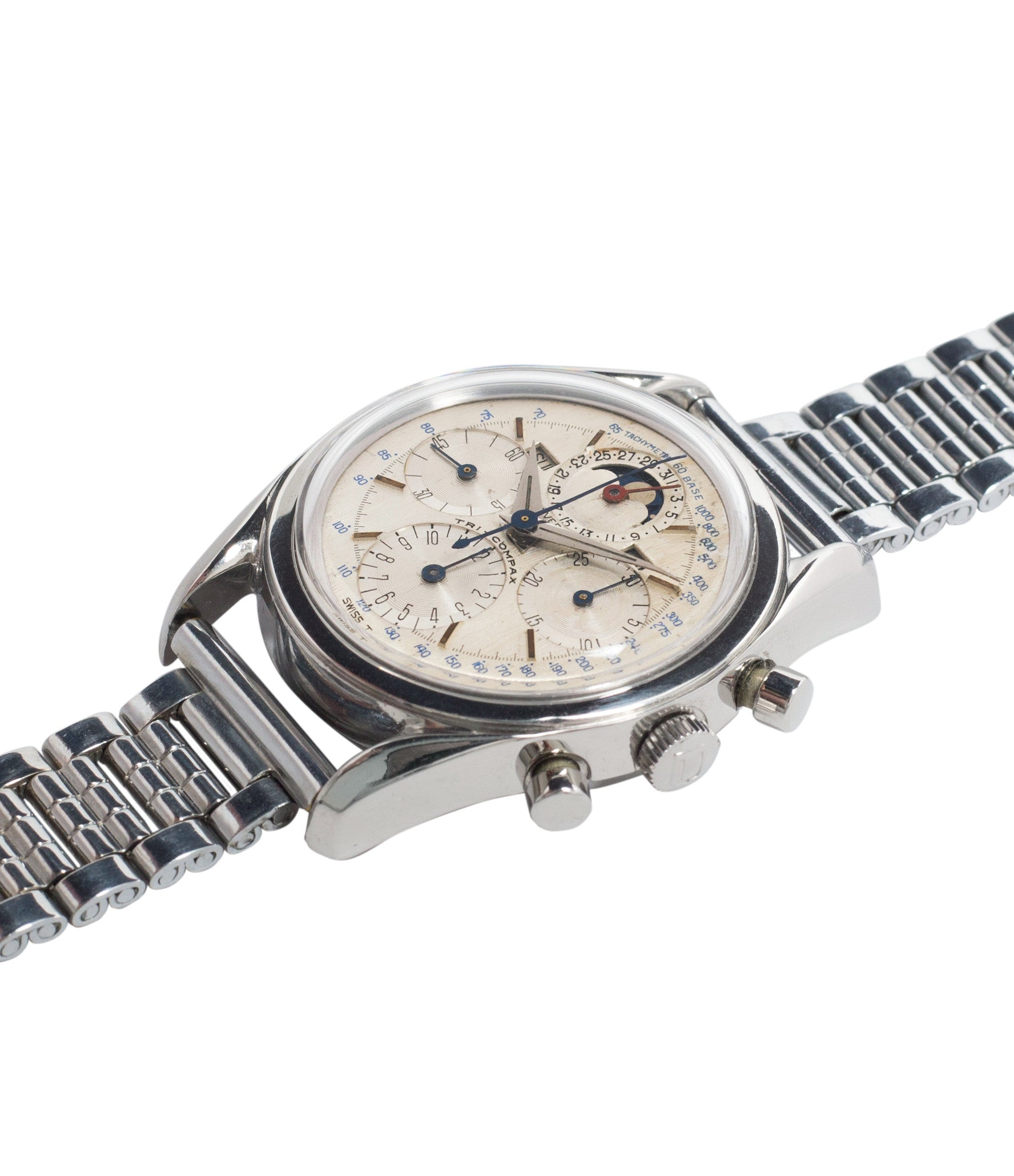 buy vintage chronograph Universal Geneve 222100/2 Tri-Compax Triple Calendar Moonphase steel chronograph watch for sale online at A Collected Man London rare vintage watch specialist