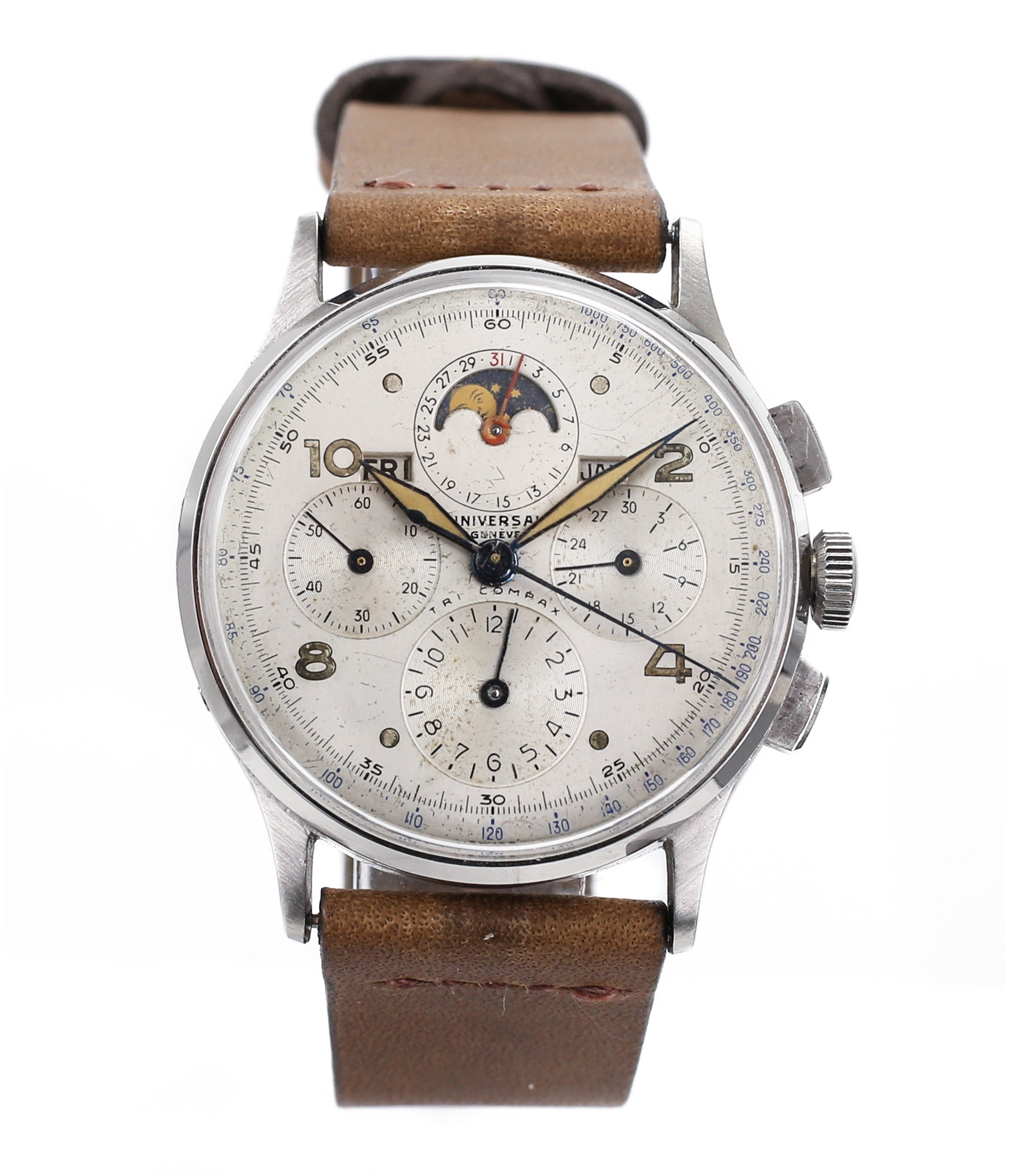 buy Universal Geneve Tri-Compax 22279 vintage steel chronograph triple calendar watch at A Collected Man London online vintage watch specialist