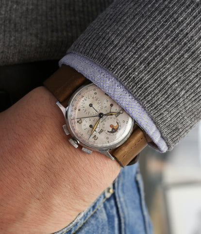 on the wrist Universal Geneve Tri-Compax 22279 vintage steel chronograph triple calendar watch at A Collected Man London online vintage watch specialist