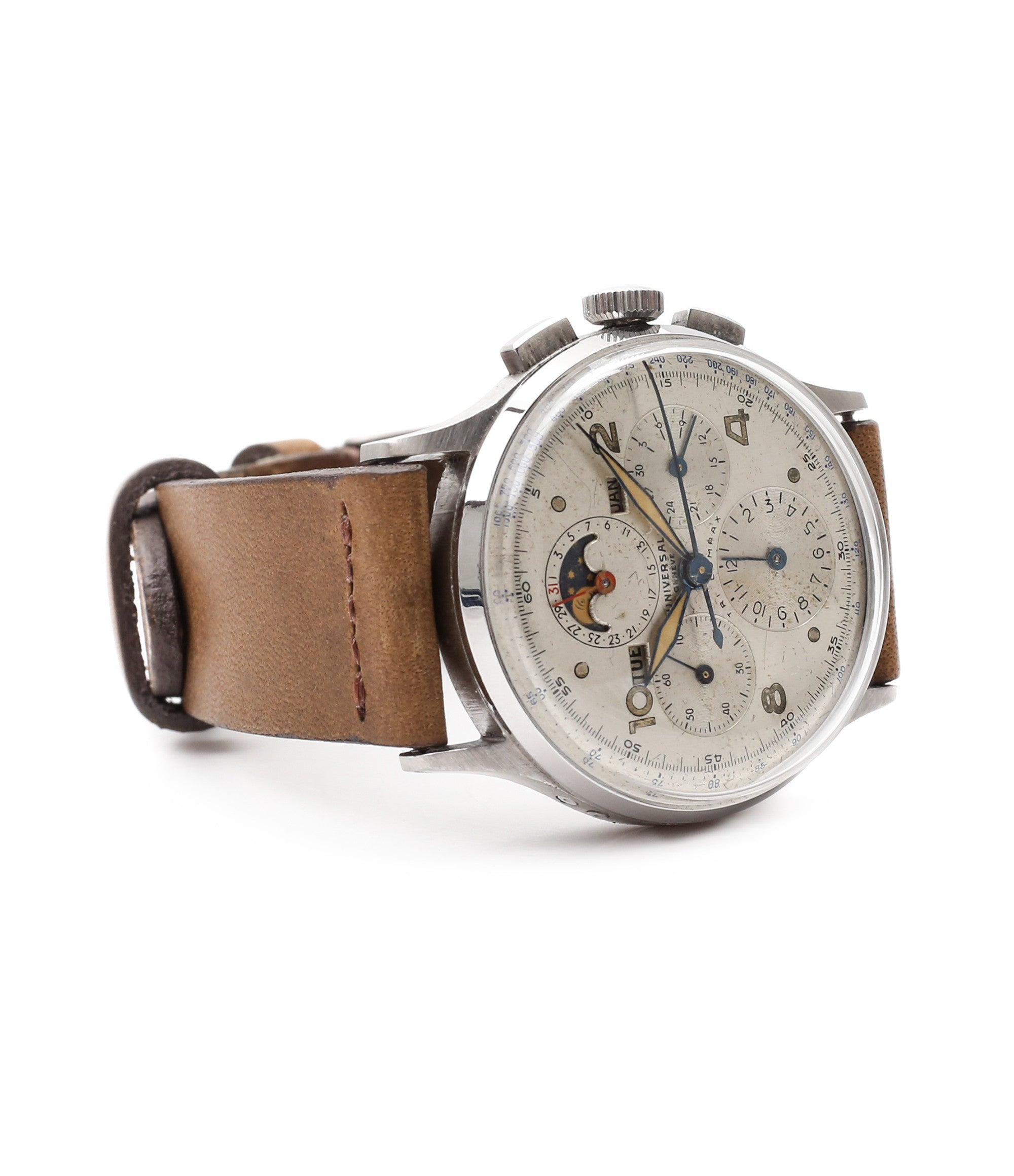 for sale vintage chronograph Universal Geneve Tri-Compax 22279 steel triple calendar watch at A Collected Man London online vintage watch specialist