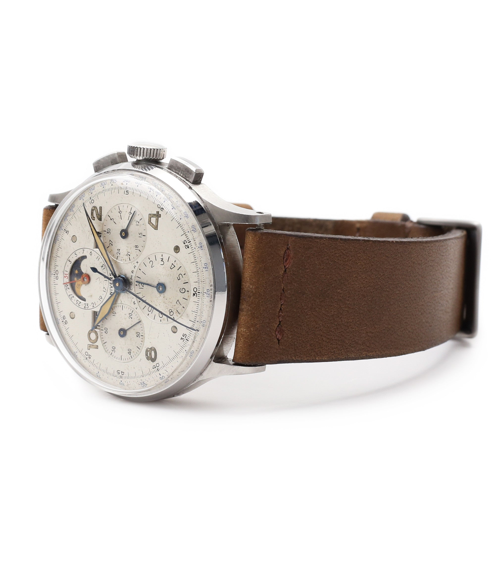 buy vintage steel chronograph Universal Geneve Tri-Compax 22279 triple calendar watch at A Collected Man London online vintage watch specialist