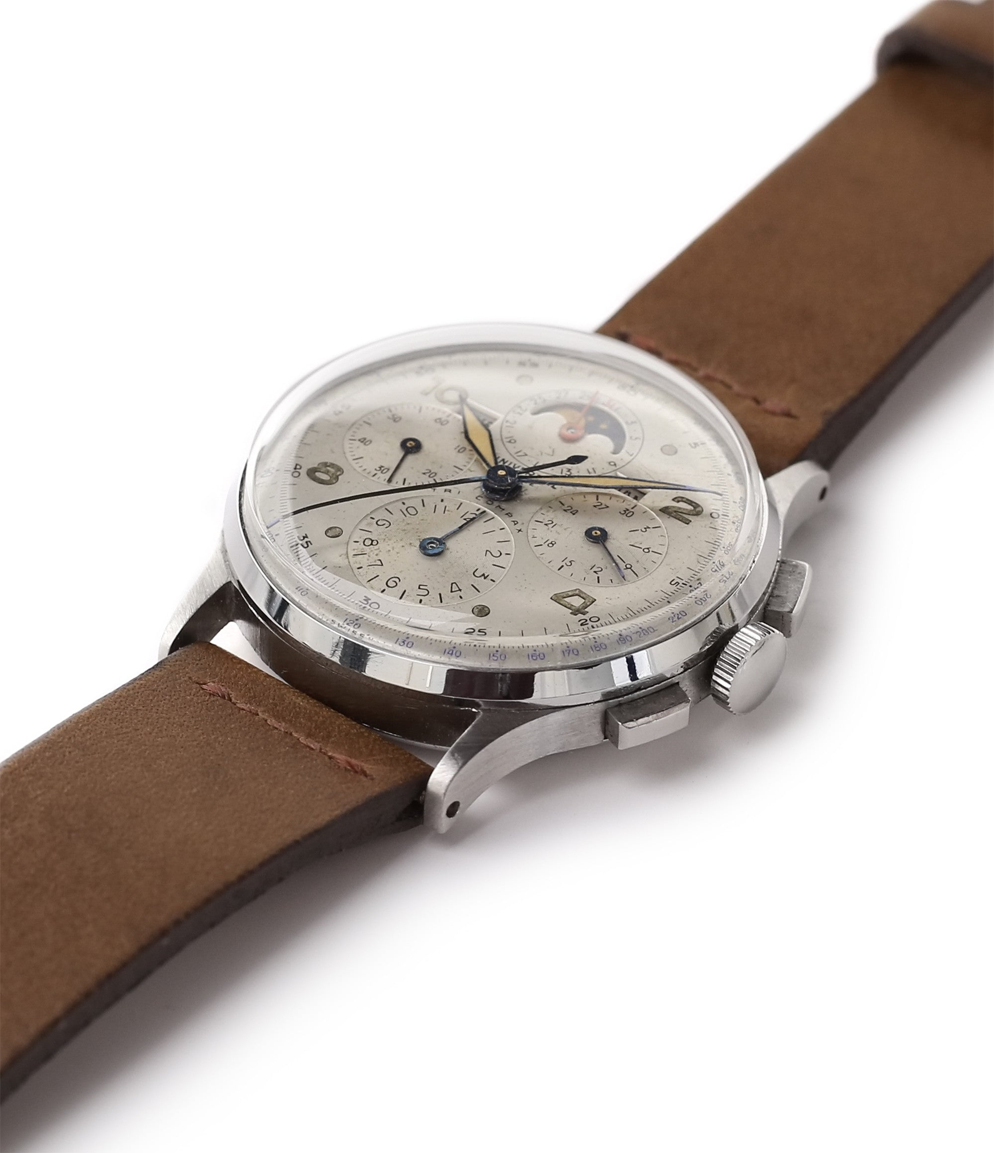 for sale Universal Geneve Tri-Compax 22279 vintage steel chronograph triple calendar watch at A Collected Man London online vintage watch specialist