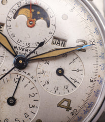 triple calendar Universal Geneve Tri-Compax 22279 vintage steel chronograph triple calendar watch at A Collected Man London online vintage watch specialist