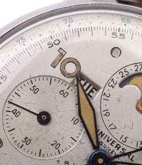 unrestored dial Universal Geneve Tri-Compax 22279 vintage steel chronograph triple calendar watch at A Collected Man London online vintage watch specialist