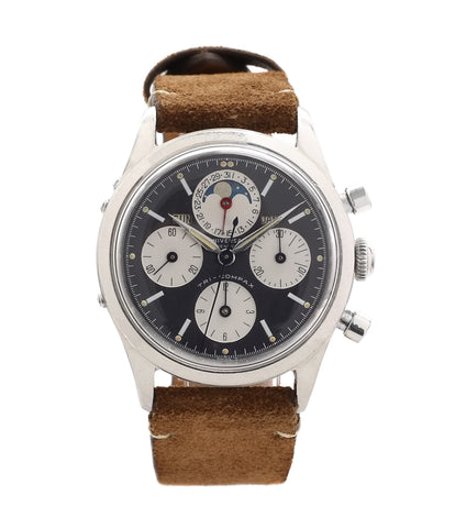 buy Universal Geneve Tri-Compax 22297 black dial vintage chronograph steel watch online at A Collected Man London