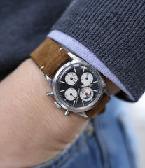 wristwatch Universal Geneve Tri-Compax 22297 black dial vintage chronograph steel watch online at A Collected Man London