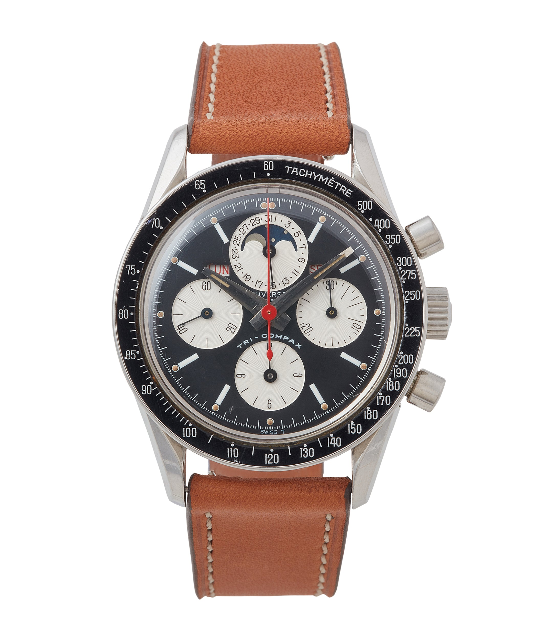 buy Universal Geneve Tri-Compax Evil Clapton 881101/02 black dial vintage steel chronograph for sale online at A Collected Man London UK specialist of rare watches