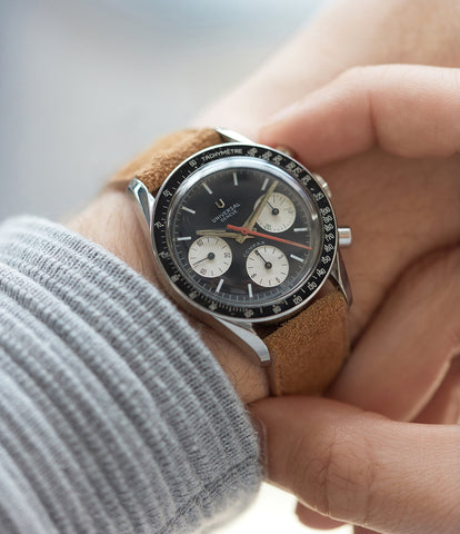 on the wrist vintage Universal Geneve Compax Chronograph 885103/01 Evil Nina steel Valjoux 72  rare watch