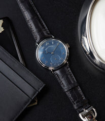 luxury men's dress watch Urban Jurgensen 1140 PT blue dial time-only dress watch for sale online at A Collected Man London UK authorised retailer for independent watchmakers