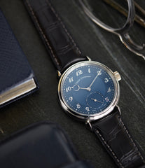 luxury pre-owned watch Urban Jurgensen 1140 PT blue dial time-only dress watch for sale online at A Collected Man London UK authorised retailer for independent watchmakers