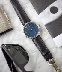 rare watch Urban Jurgensen 1140 PT blue dial time-only dress watch for sale online at A Collected Man London UK authorised retailer for independent watchmakers