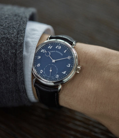 on the wrist Urban Jurgensen 1140 PT blue dial time-only dress watch for sale online at A Collected Man London UK authorised retailer for independent watchmakers