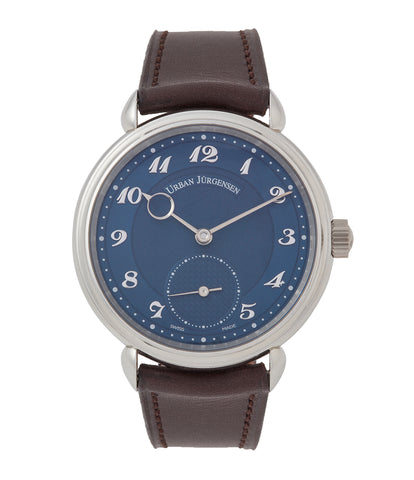 buy Urban Jurgensen new and preowned 1140 PT blue dial time-only dress watch for sale online at A Collected Man London UK authorised retailer for independent watchmakers