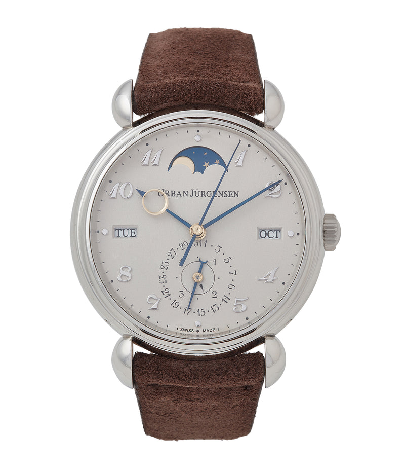 buy Urban Jurgensen 1741 PT Perpetual Calendar Moonphase platinum new watch online at A Collected Man London authorised UK retailer rare independent watches