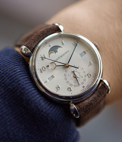 on the wrist Urban Jurgensen 1741 PT Perpetual Calendar Moonphase platinum new watch online at A Collected Man London authorised UK retailer rare independent watches