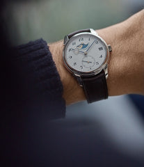 on the wrist Urban Jurgensen 2340 WG Jules Moonphase white gold watch online at A Collected Man London authorised retailer independent watchmaker specialist UK