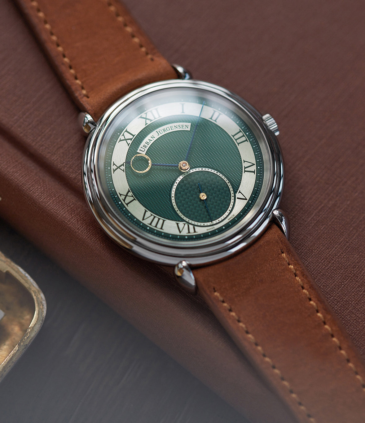 urban jurgensen watch sale for Covid-19 vaccine development London Limited Edition Urban Jürgensen British racing green dial steel time-only dress watch for sale exclusively at A Collected Man London