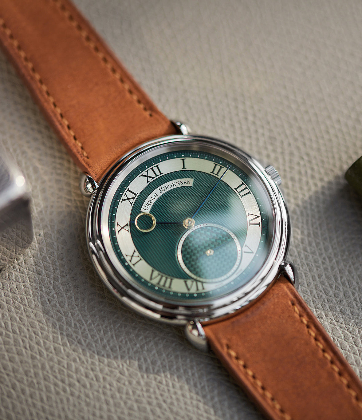 rare Urban Jürgensen Big 8 Limited Edition British racing green dial steel time-only dress watch for sale exclusively at A Collected Man London