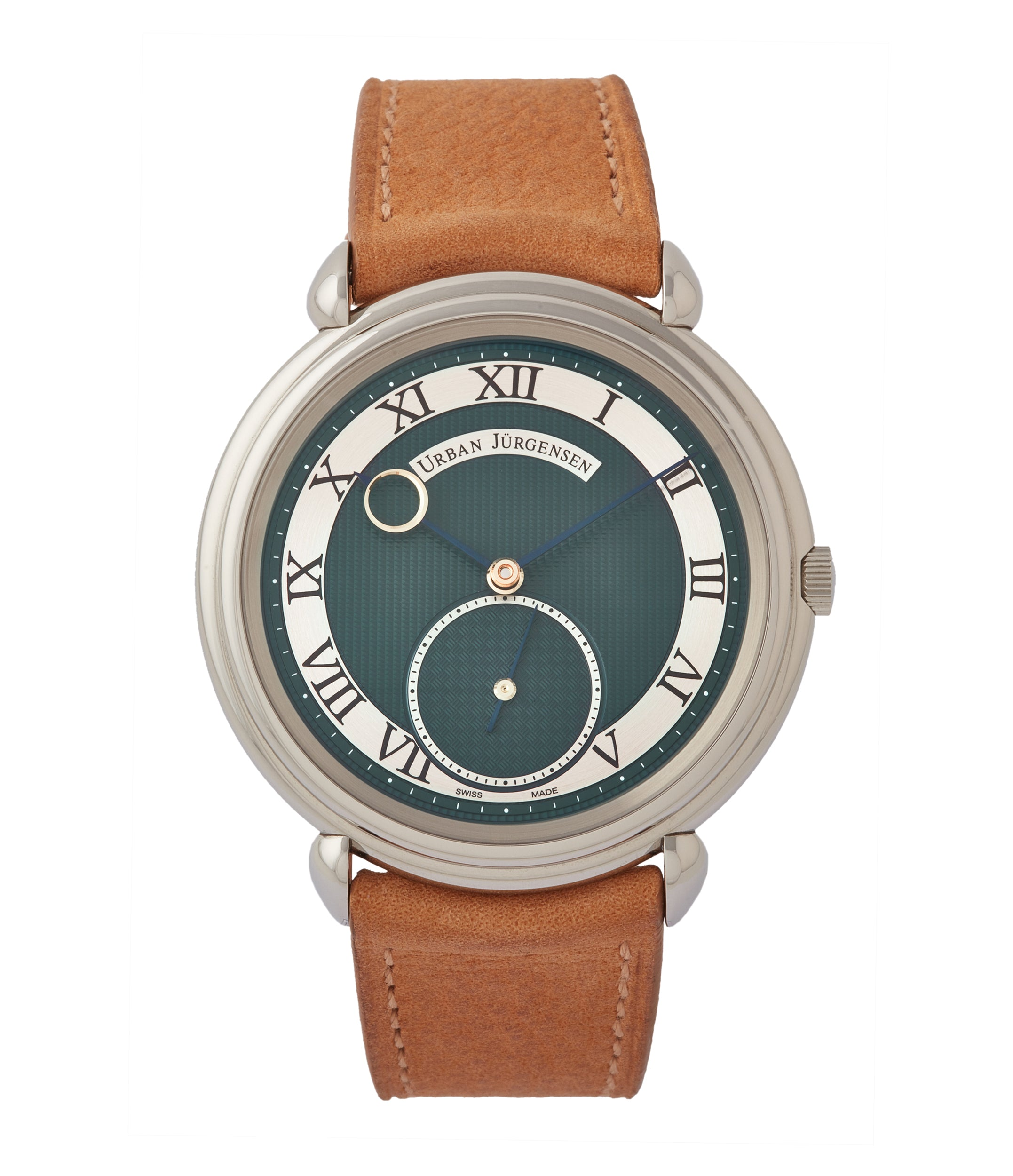 Buy London Limited Edition Urban Jürgensen British racing green dial steel time-only dress watch for sale exclusively at A Collected Man London
