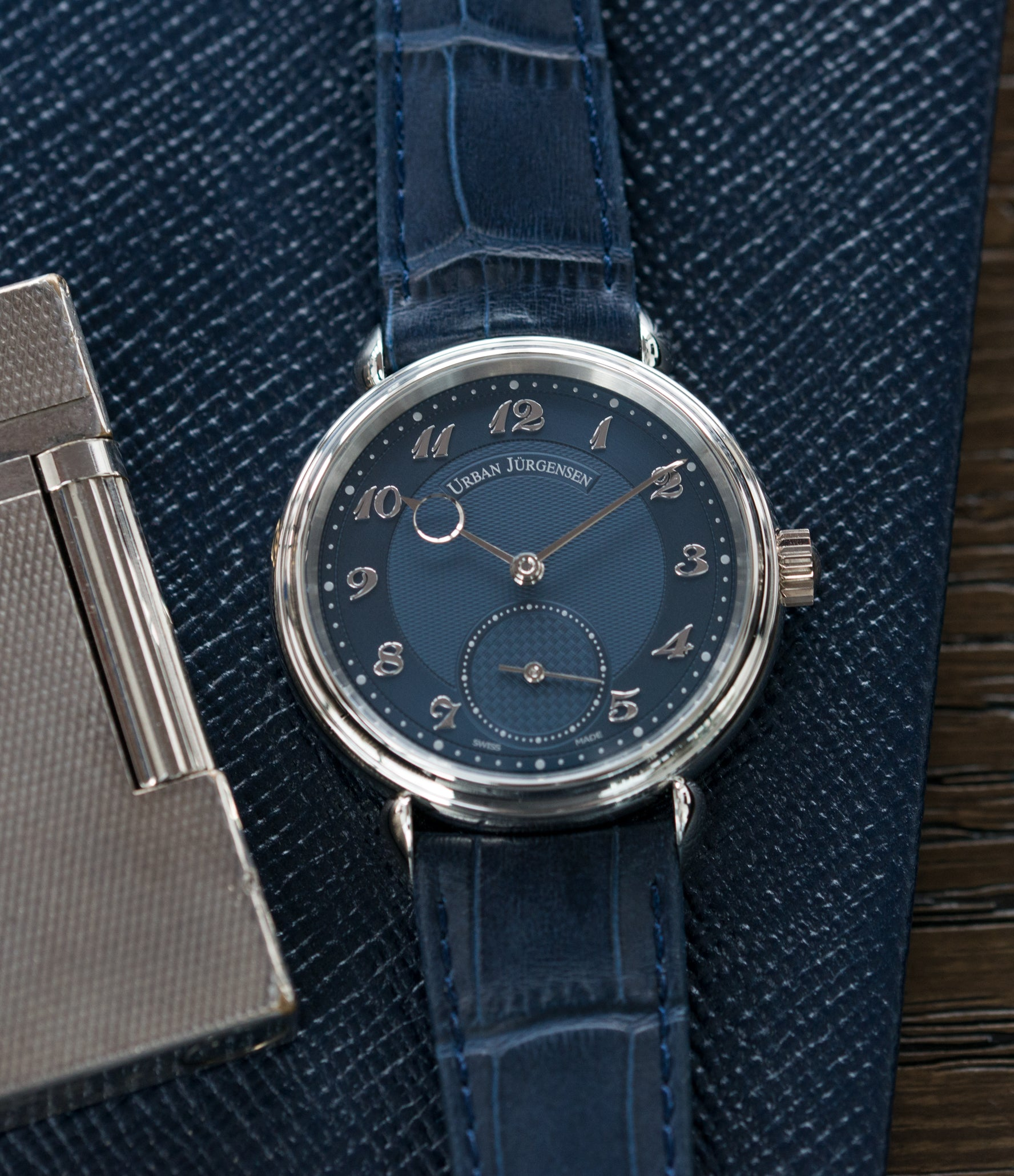 buy men's luxury dress watch Urban Jurgensen 1140 PT Blue dial watch online at A Collected Man London independent watchmaker specialist authorised retailer in the UK