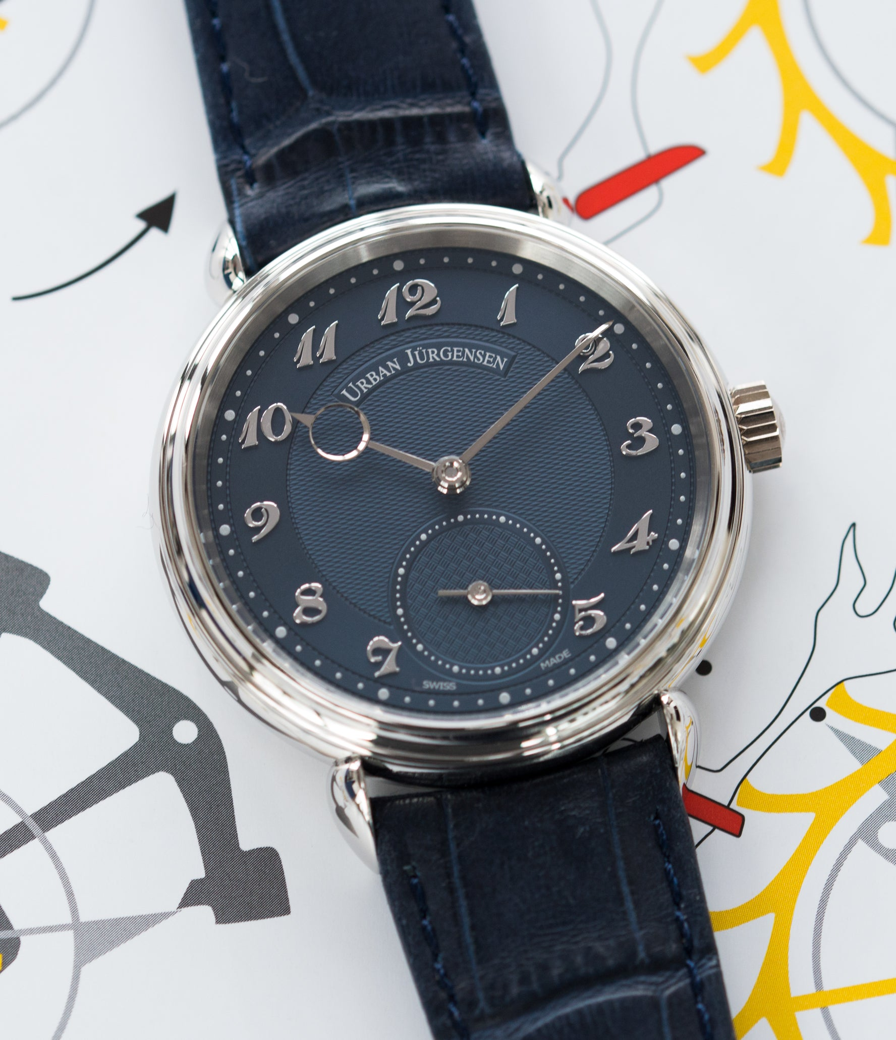 Urban Jurgensen 1140 PT Blue dial watch online at A Collected Man London independent watchmaker specialist authorised retailer in the UK