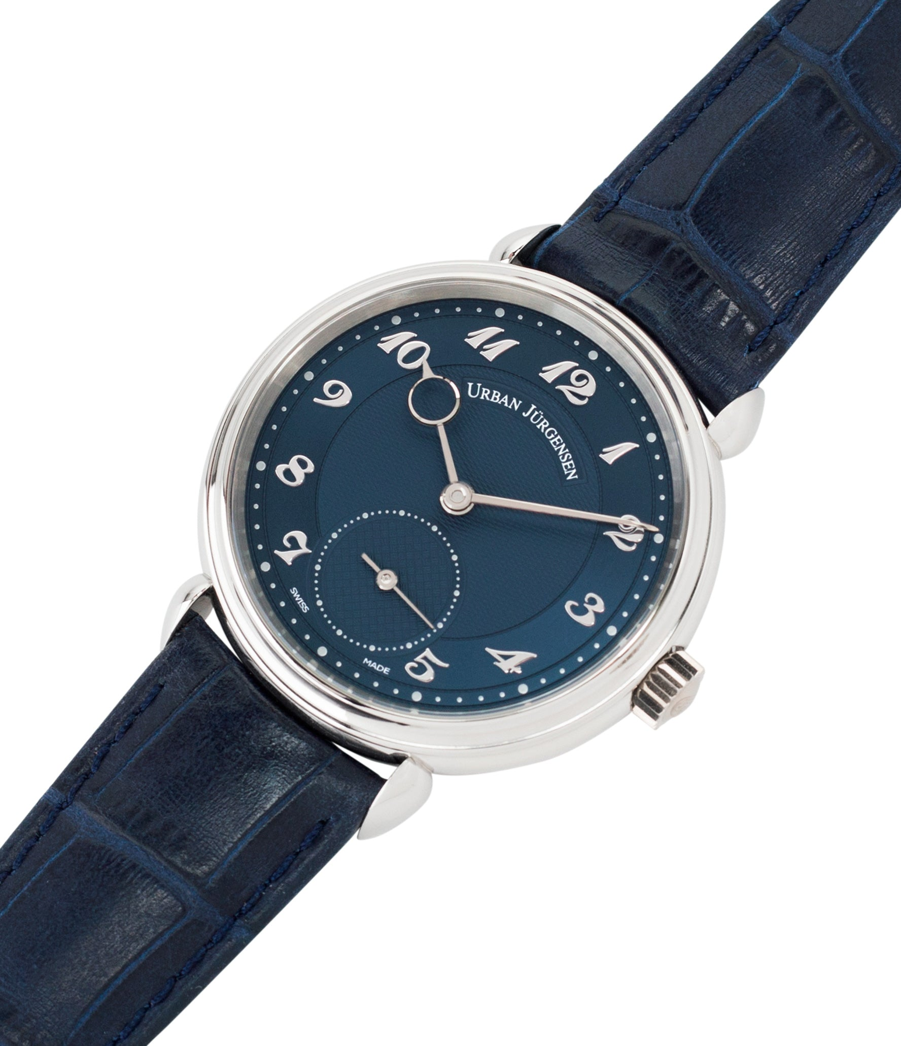 buy independent watchmaker Urban Jurgensen 1140 PT Blue dial watch online at A Collected Man London specialist authorised retailer in the UK