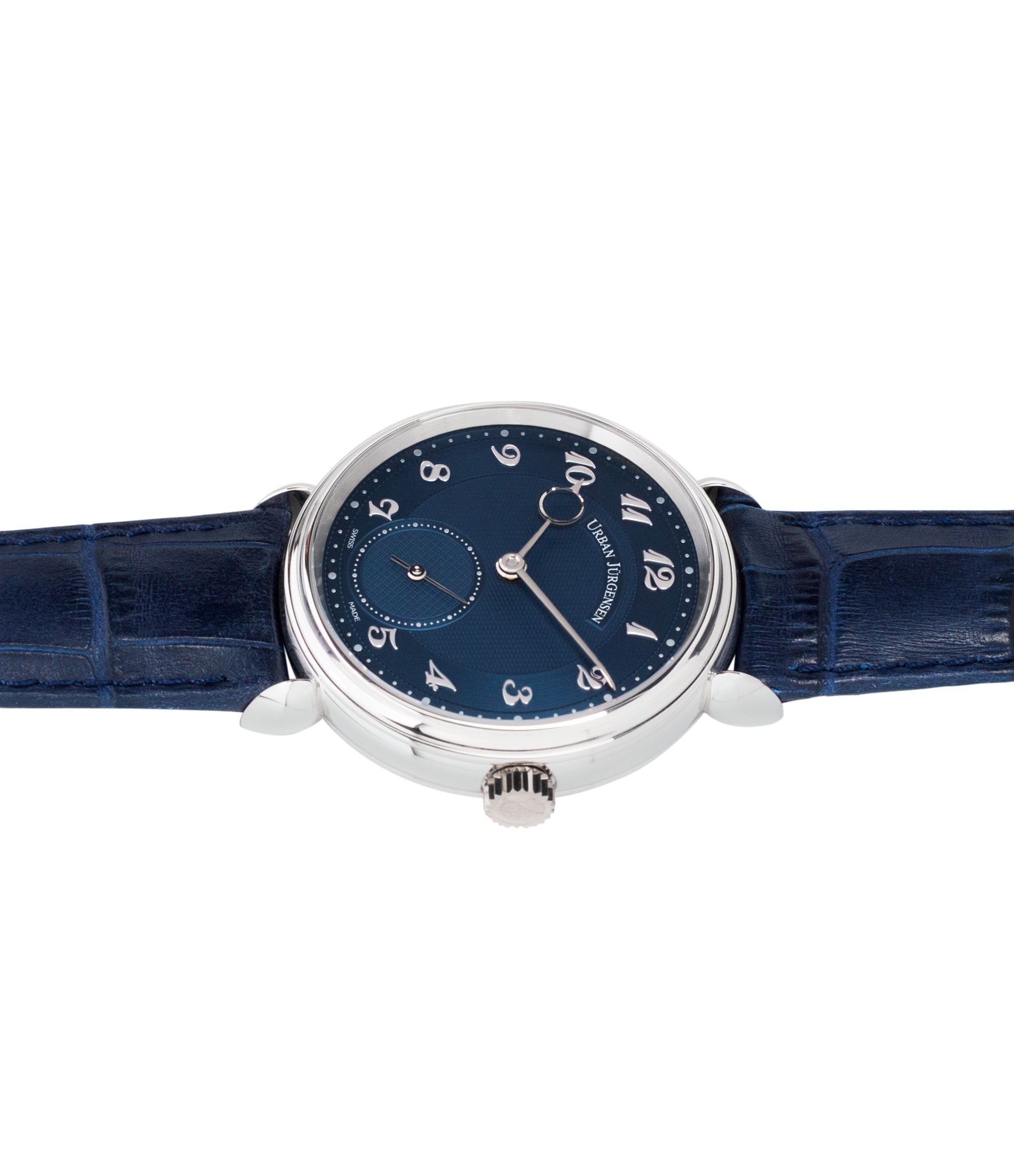 luxury dress watch Urban Jurgensen 1140 PT Blue dial watch online at A Collected Man London independent watchmaker specialist authorised retailer in the UK