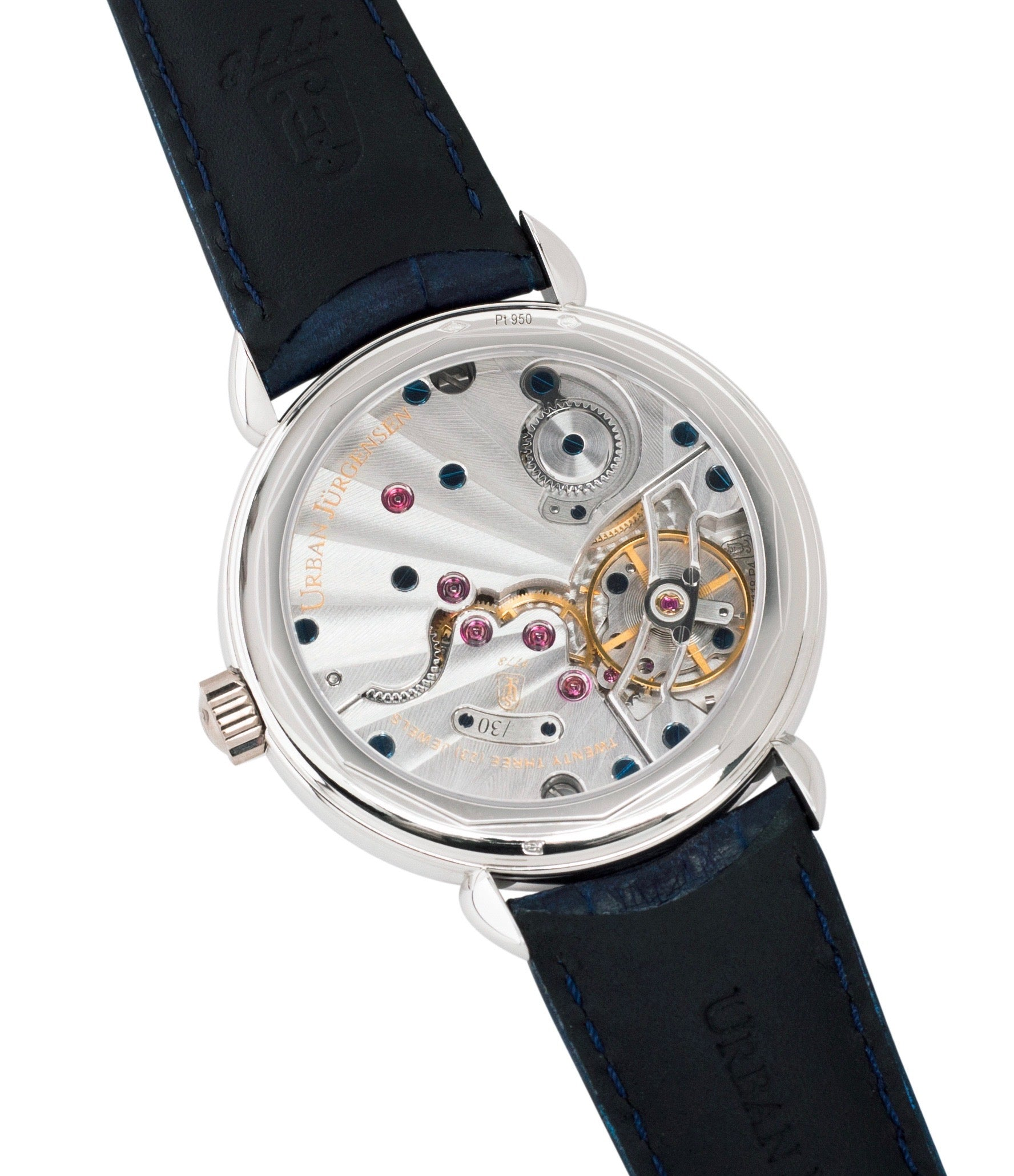P4 in-house movement Urban Jurgensen 1140 PT Blue dial watch online at A Collected Man London independent watchmaker specialist authorised retailer in the UK
