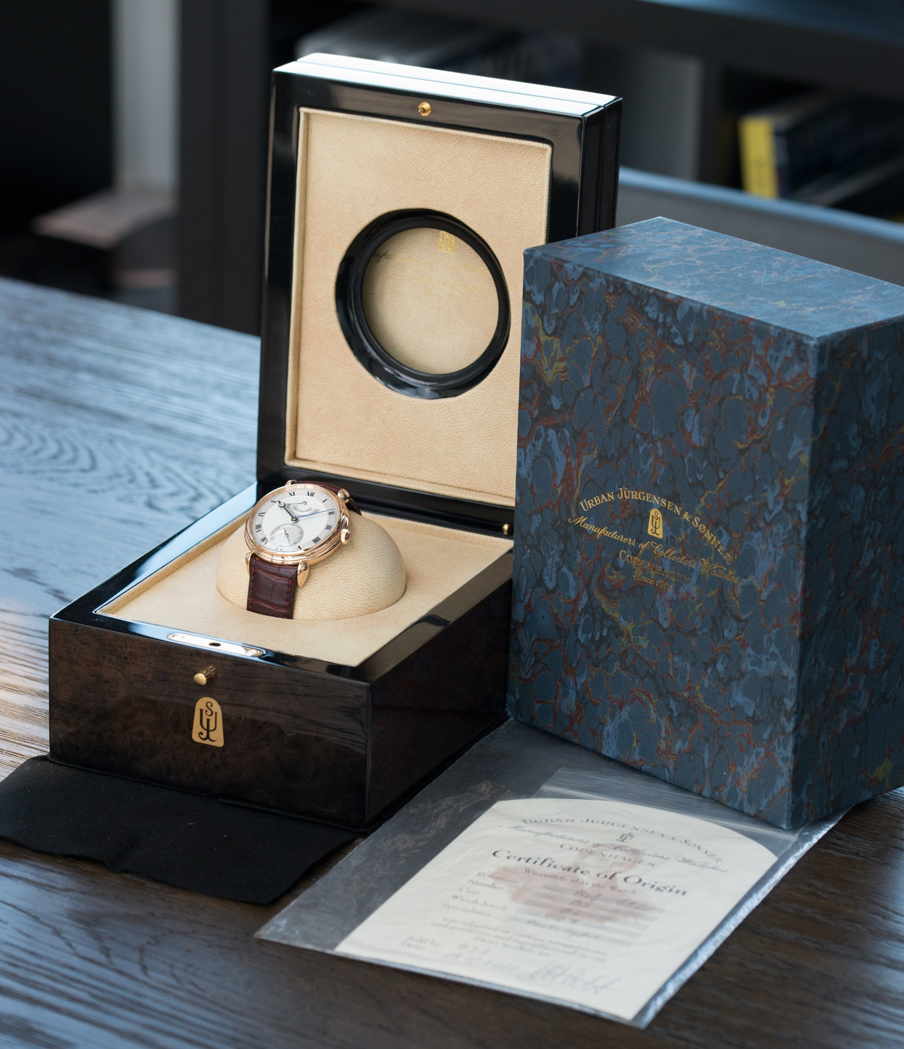 full set Urban Jurgensen 11L prototype rose gold watch at A Collected Man London United Kingdom online specialist of independent watchmakers