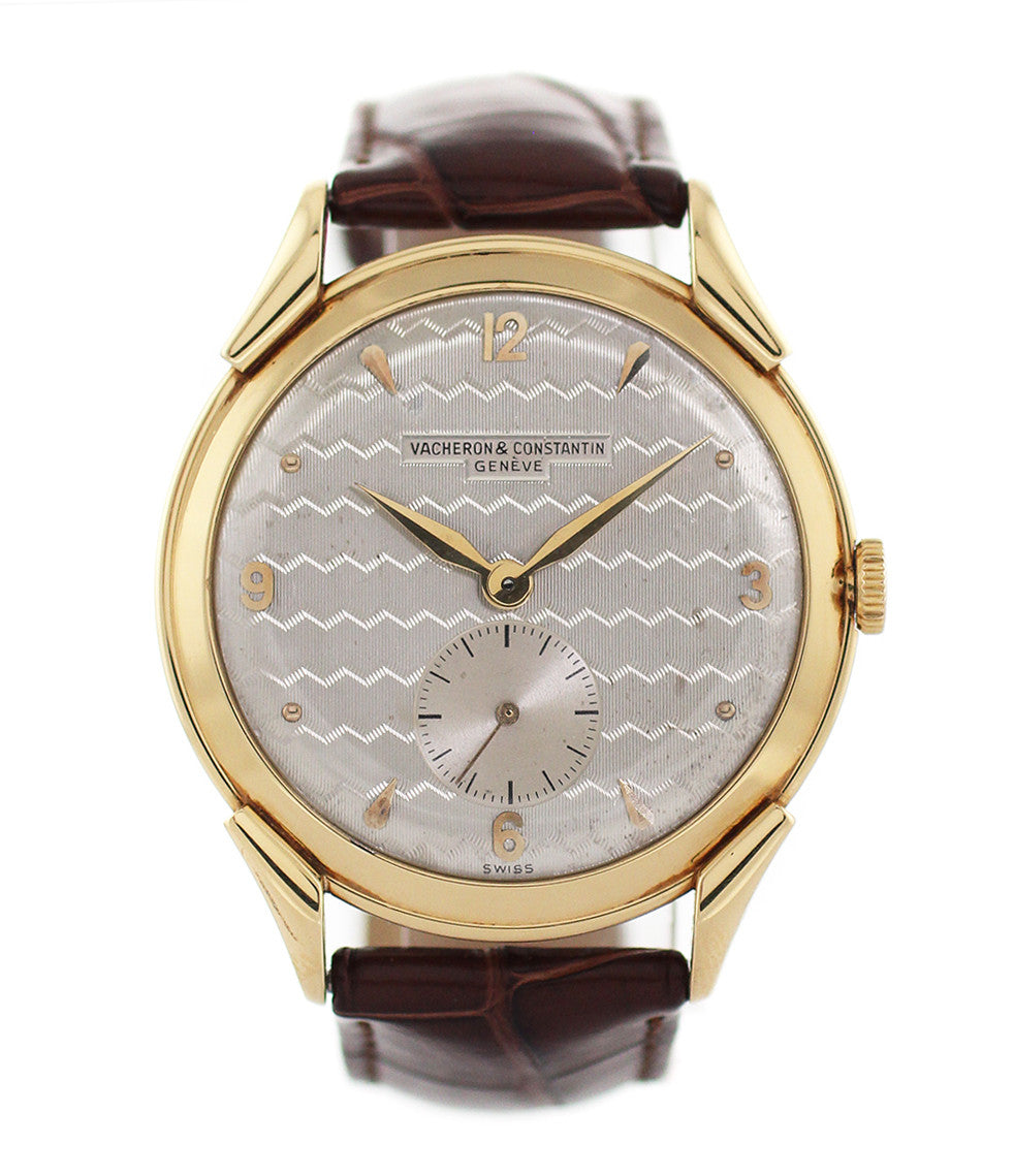 buy Vacheron Constantin Oversize Vintage Engine-turned Dial 4537 yellow gold manual-winding vintage pre-owned watch with silver guilloché dial sale online WATCH XCHANGE London with Archives extracts