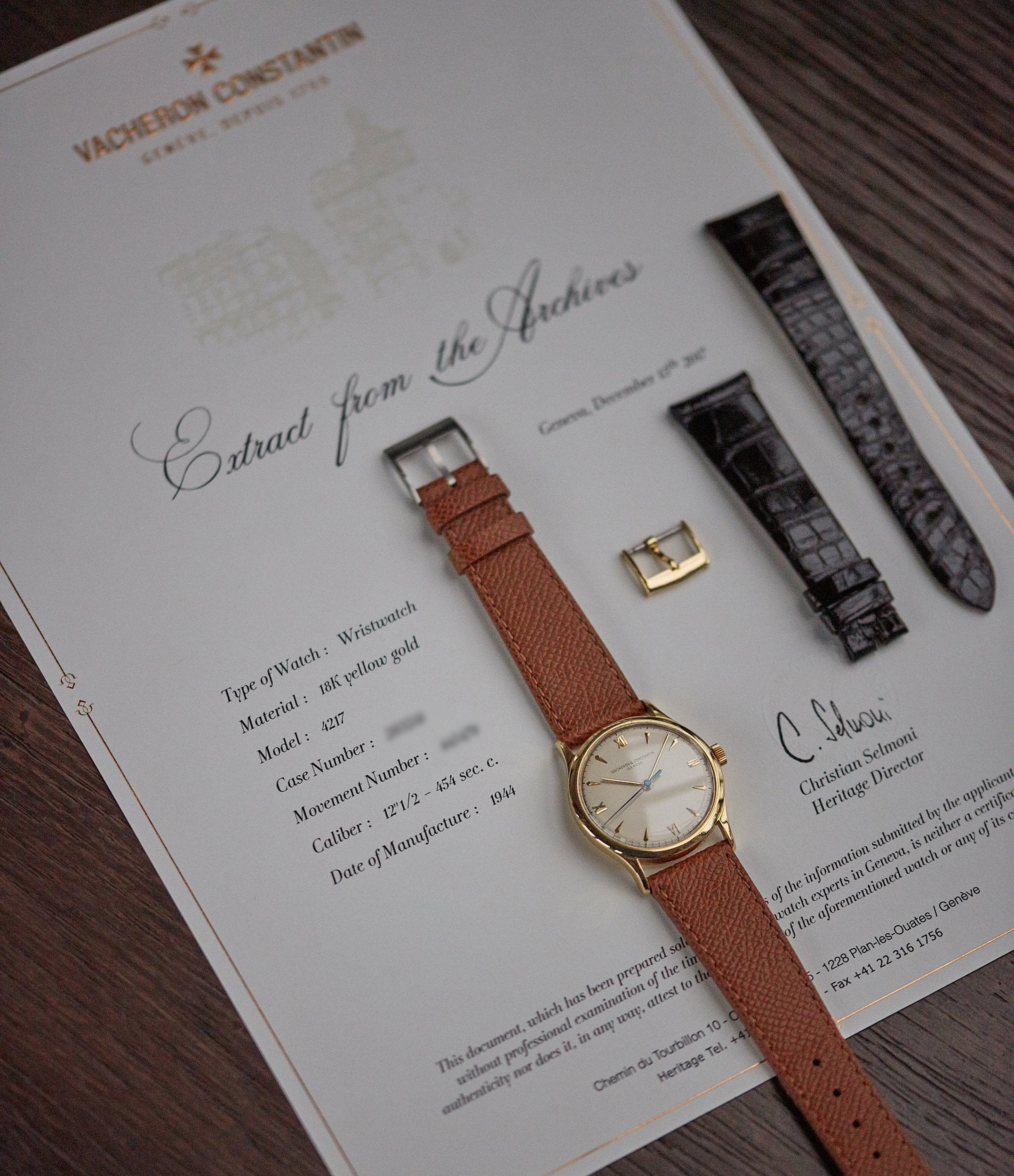 Vacheron Constantin Archive Extract Ref. 4127 vintage time-only yellow gold dress watch for sale online A Collected Man London UK specialist rare watches
