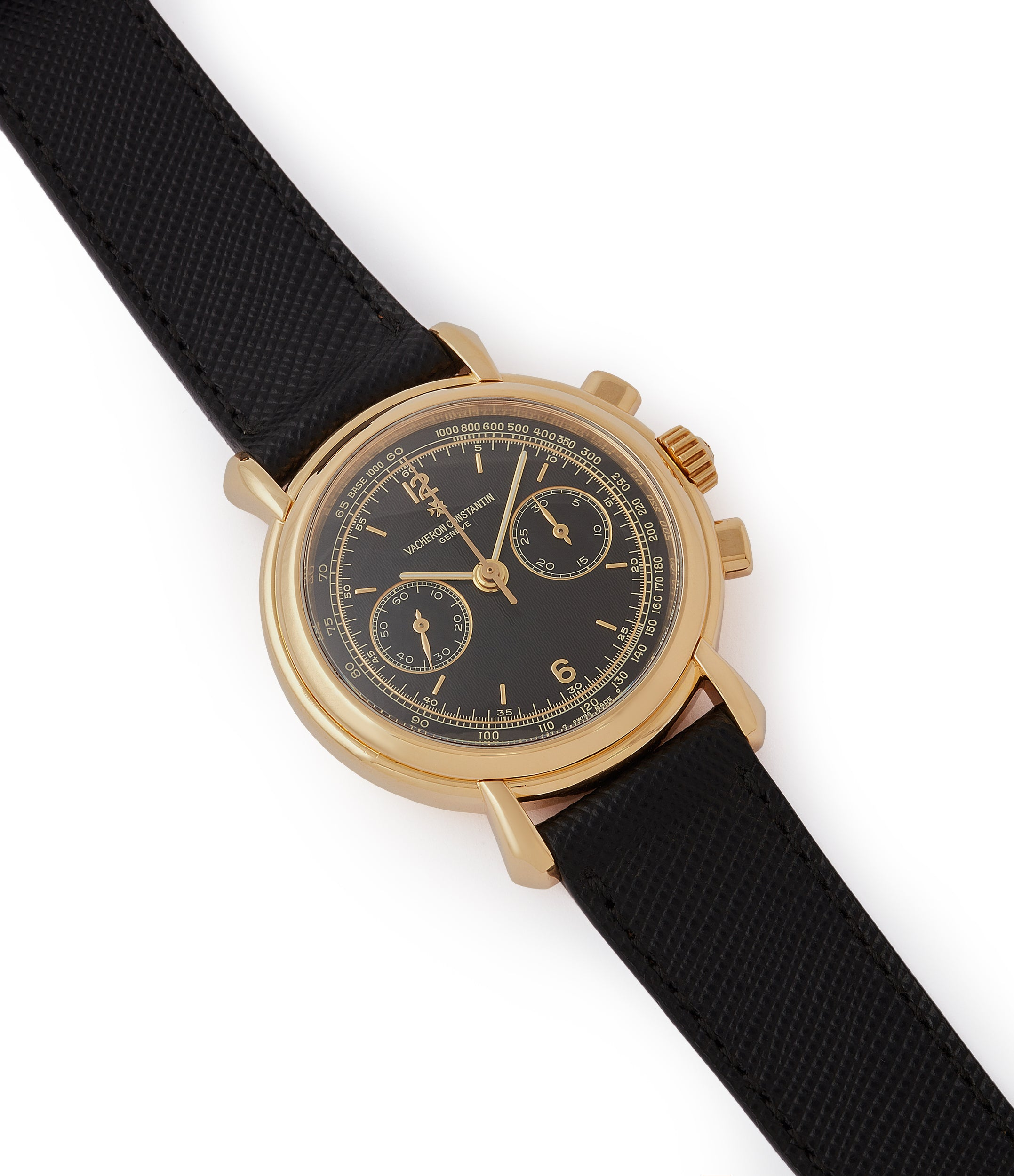 sell Vacheron Constantin Les Historiques Chronograph 47101/4 yellow gold black dial pre-owned manual-winding watch for sale online at A Collected Man London UK specialist of rare watches
