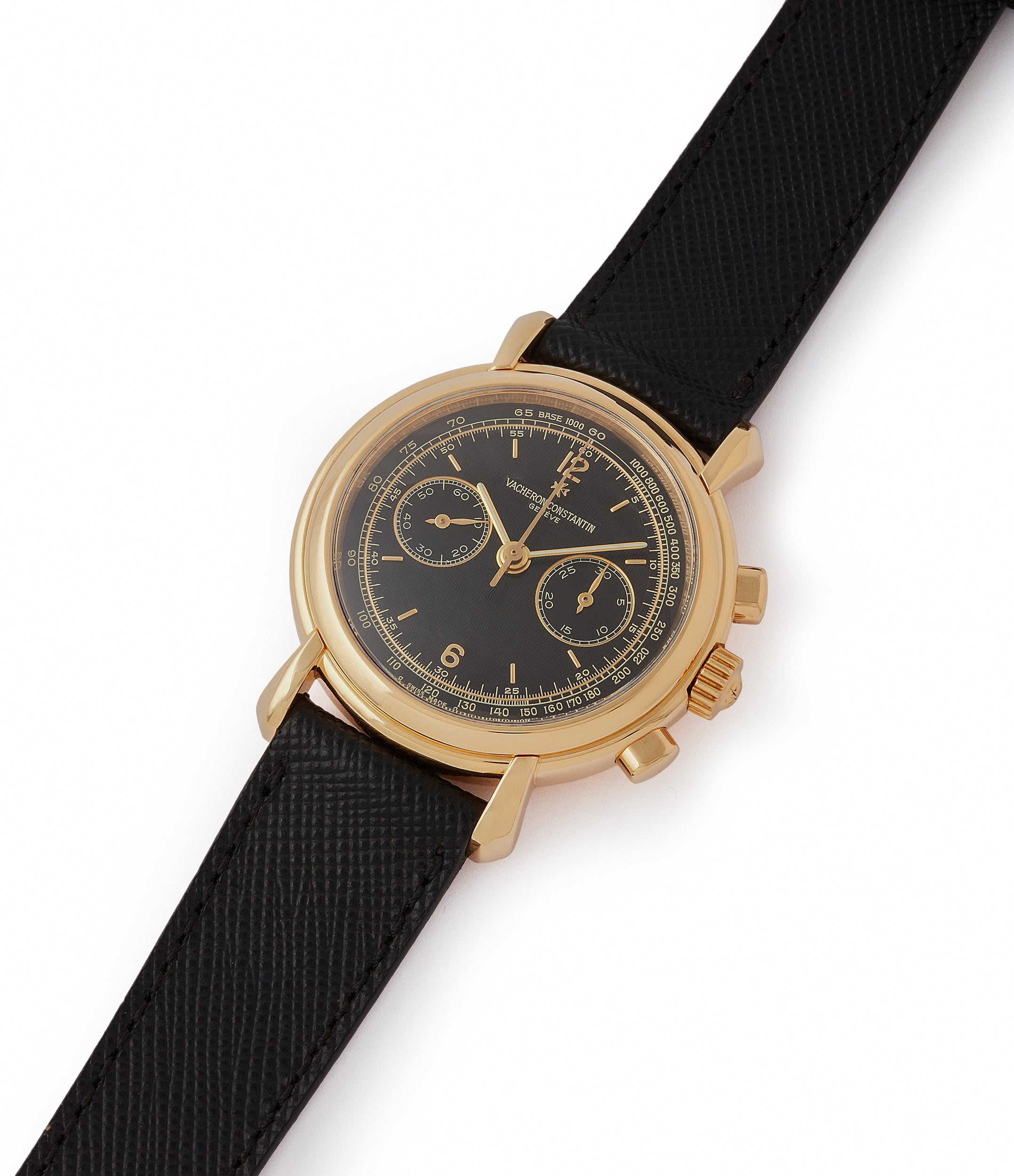 selling Vacheron Constantin Les Historiques Chronograph 47101/4 yellow gold black dial pre-owned manual-winding watch for sale online at A Collected Man London UK specialist of rare watches