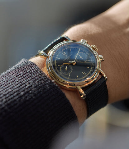 on the wrist Vacheron Constantin Les Historiques Chronograph 47101/4 yellow gold black dial pre-owned manual-winding watch for sale online at A Collected Man London UK specialist of rare watches