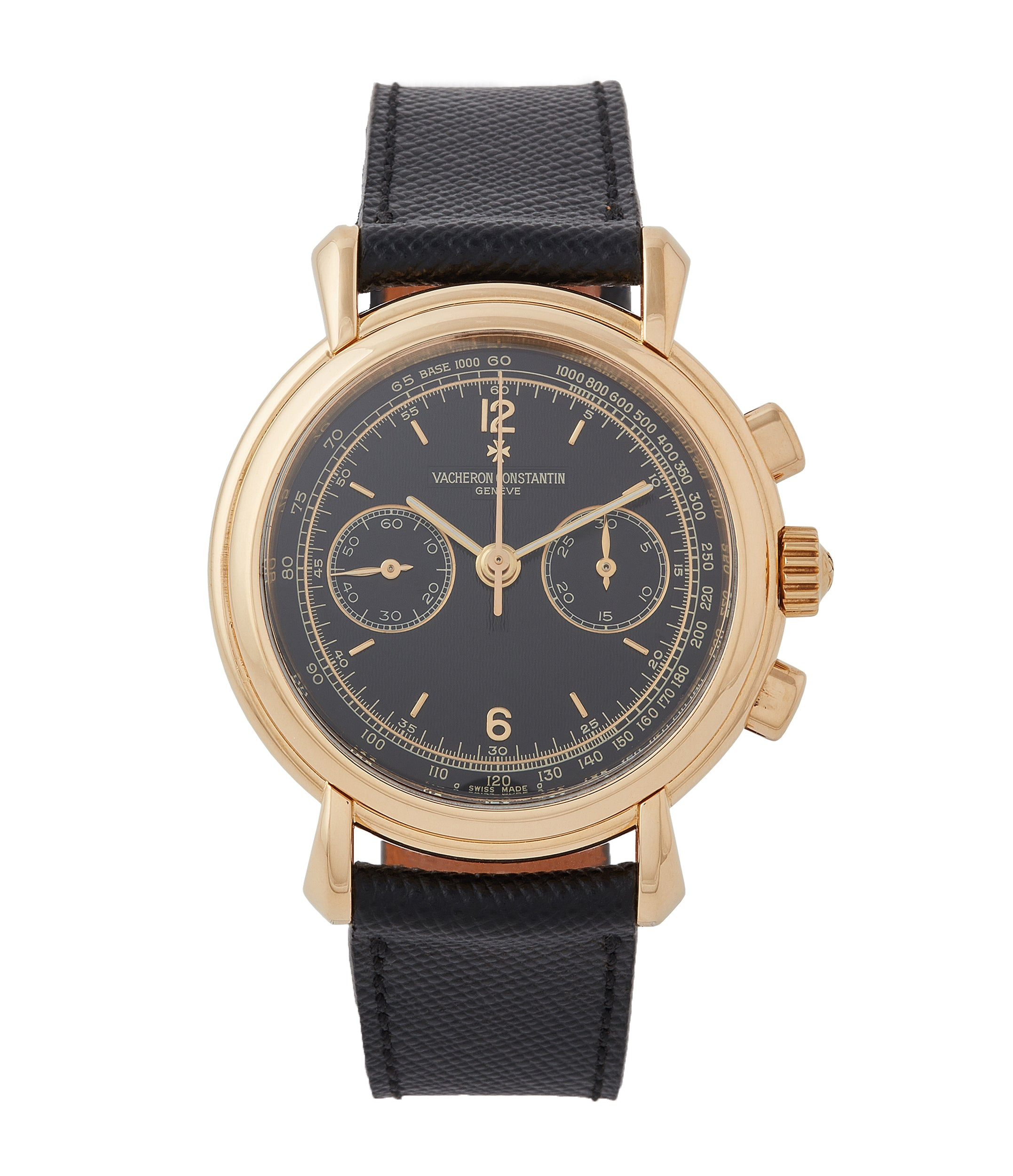 buy Vacheron Constantin Les Historiques Chronograph 47101/4 yellow gold black dial pre-owned manual-winding watch for sale online at A Collected Man London UK specialist of rare watches