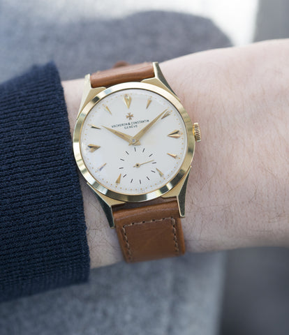 on the wrist Vacheron Constantin 6066 yellow gold time-only dress watch for sale online at A Collected Man London UK specialist of rare watches