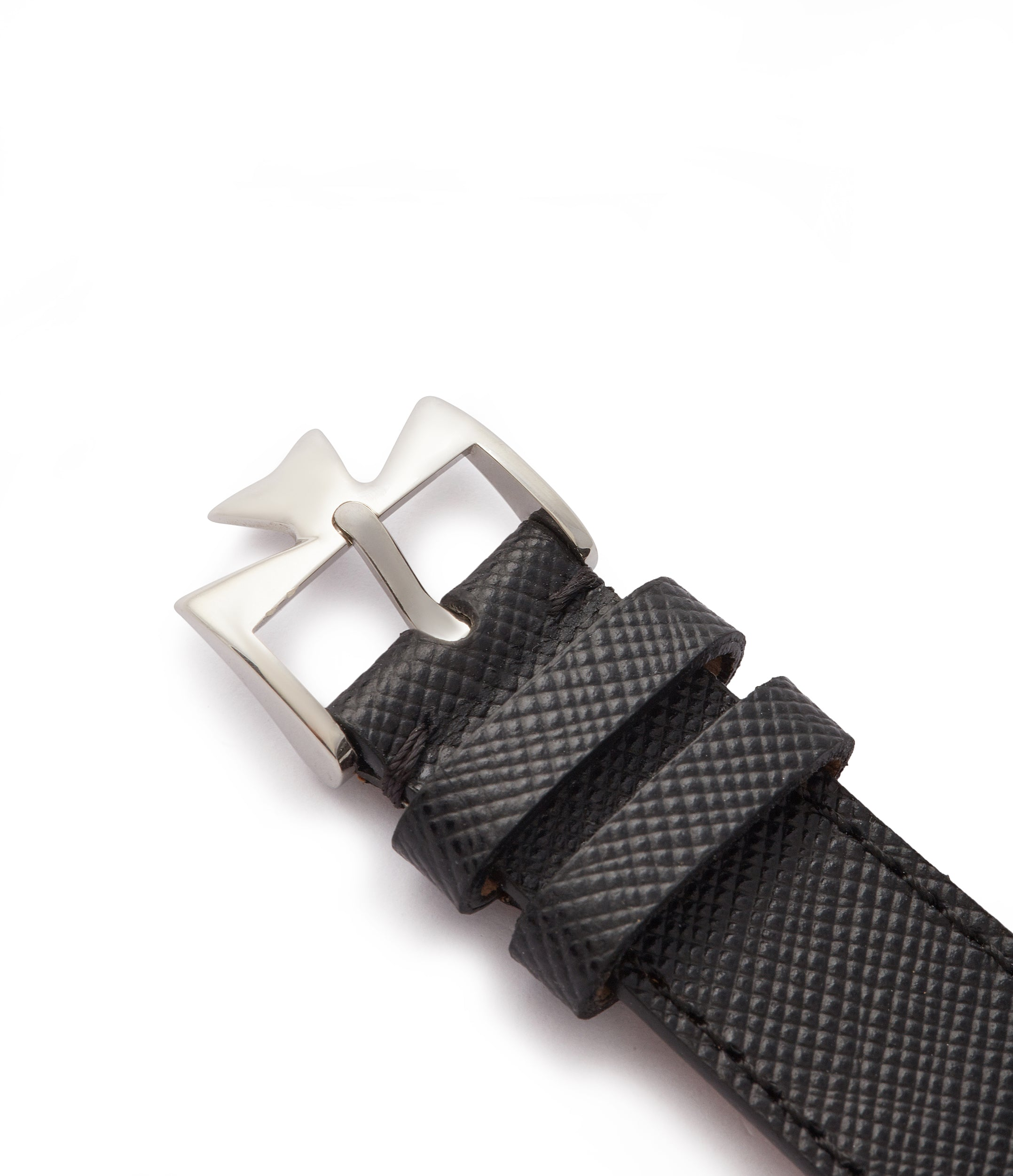 luxury watch strap black saffiano leather watch strap 20mm Milano for sale order online at A Collected Man London