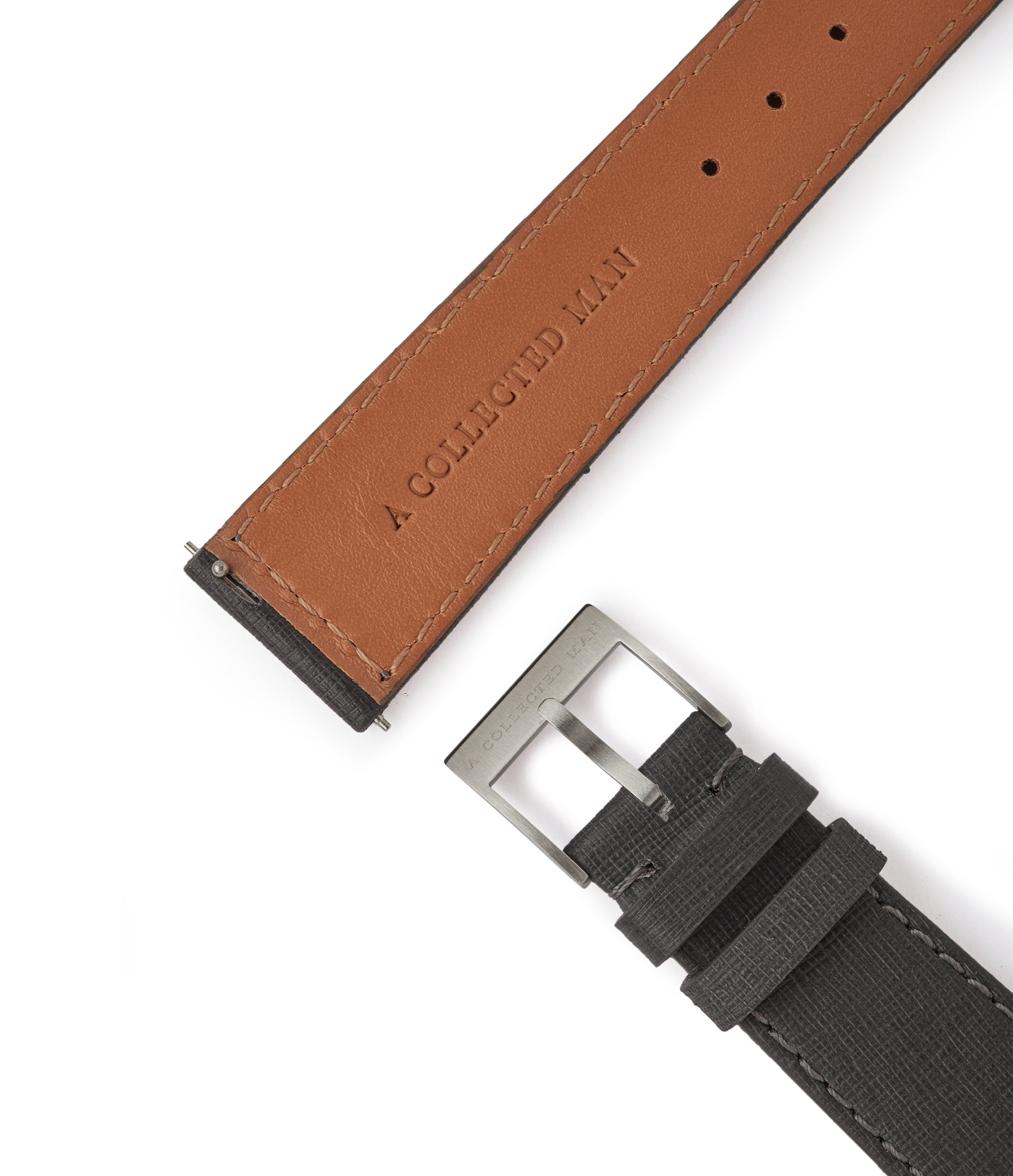 shop luxury grey Saffiano Venice grained leather watch strap 20mm for sale online at A Collected Man London