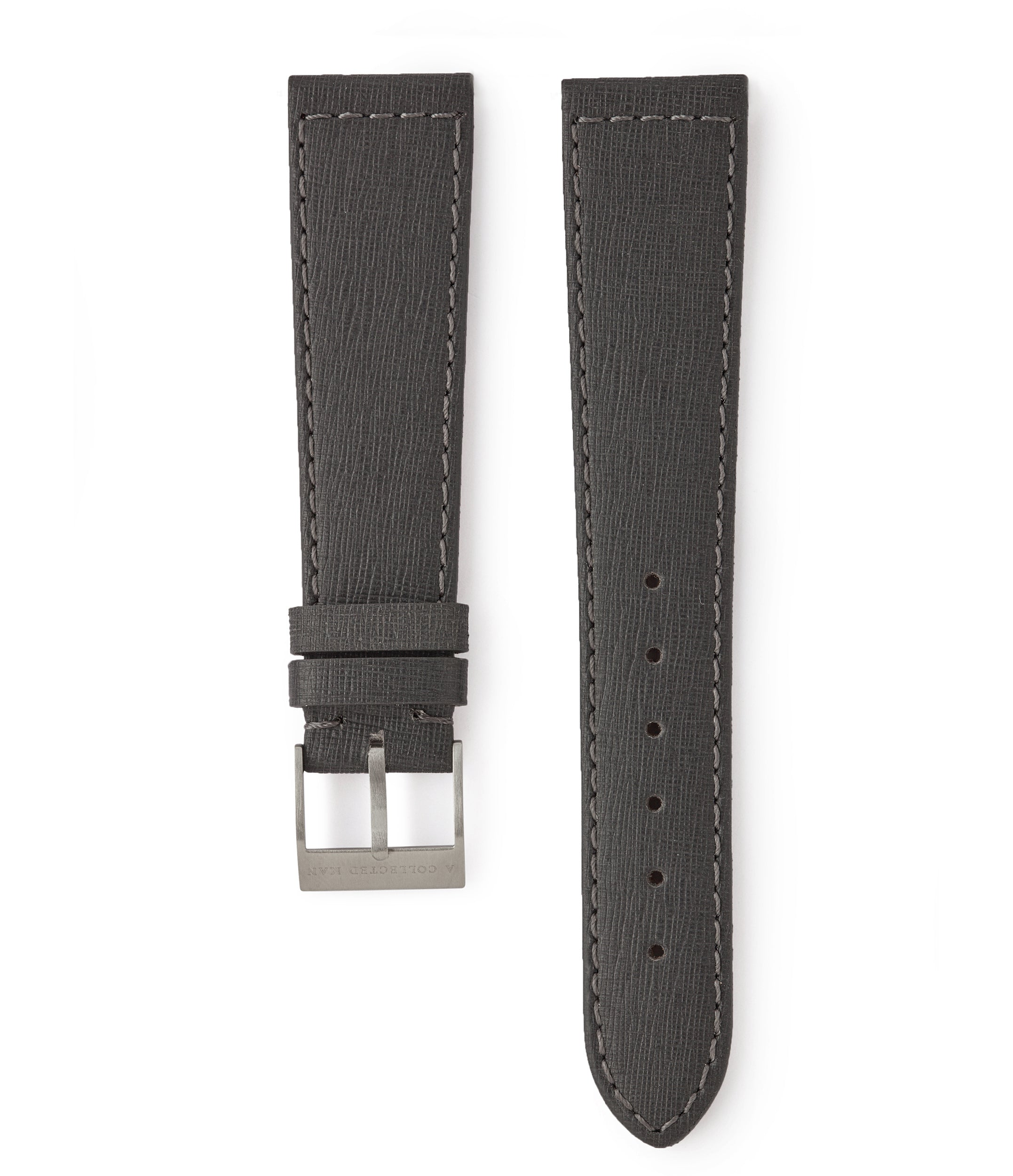 buy grey Saffiano Venice grained luxury leather watch strap 18mm for sale online at A Collected Man London