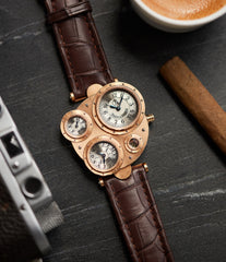Antiqua Perpetual Calendar rose gold dress watch by Vianney Halter independent watchmaker for sale online at A Collected Man London UK specialist of rare watches