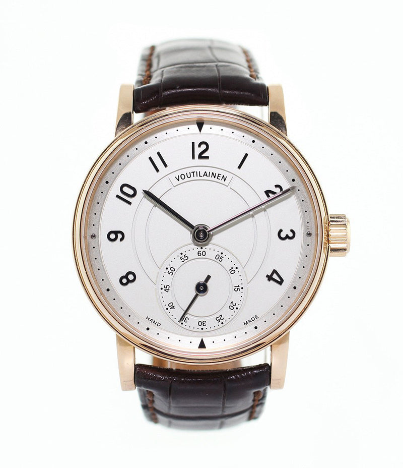 Voutilainen Observatoire  18-carat rose gold manual-winding pre-owned watch with silver dial and brown strap