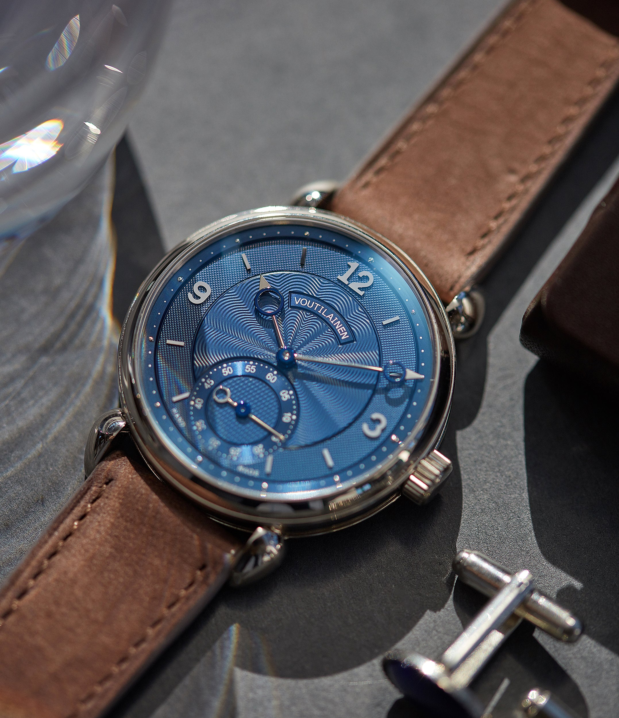 Kari Voutilainen blue dial Vingt-8 Cal. 28 pre-owned dress watch for sale online at A Collected Man London approved re-seller of independent watchmakers