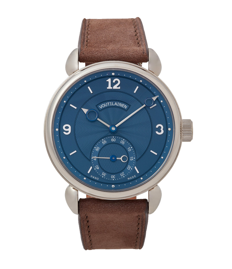 buy Kari Voutilainen blue dial Vingt-8 Cal. 28 pre-owned dress watch for sale online at A Collected Man London approved re-seller of independent watchmakers