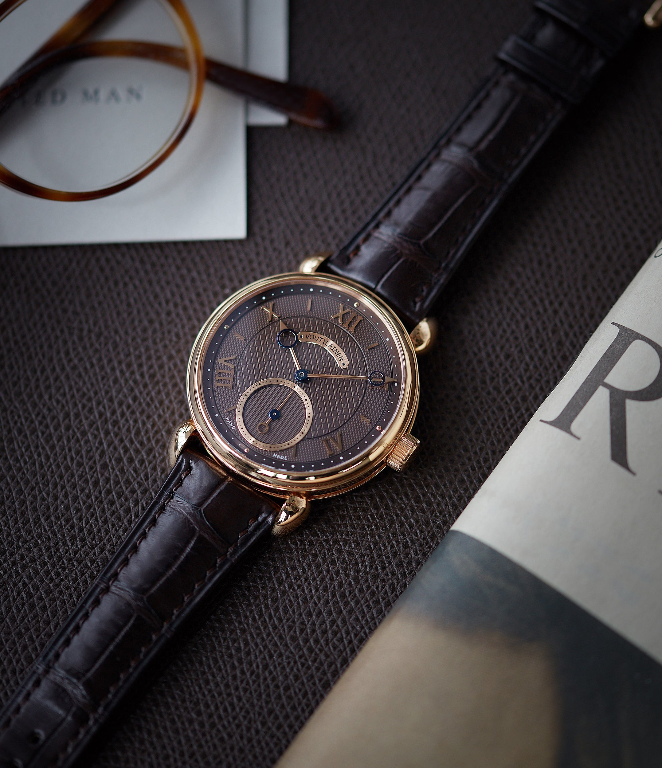 Voutilainen Vingt-8 Cal. 28 rose gold dress watch with brown guilloche dial for sale at A Collected Man London approved re-seller of preowned Voutilainen watches