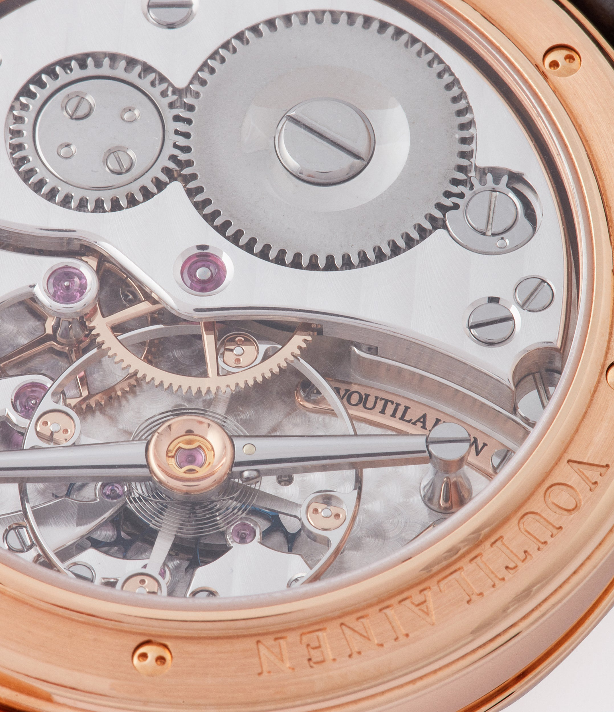 Cal. 28 manual-winding Kari Voutilainen Vingt-8 rose gold dress watch with brown guilloche dial for sale at A Collected Man London approved re-seller of preowned Voutilainen watches