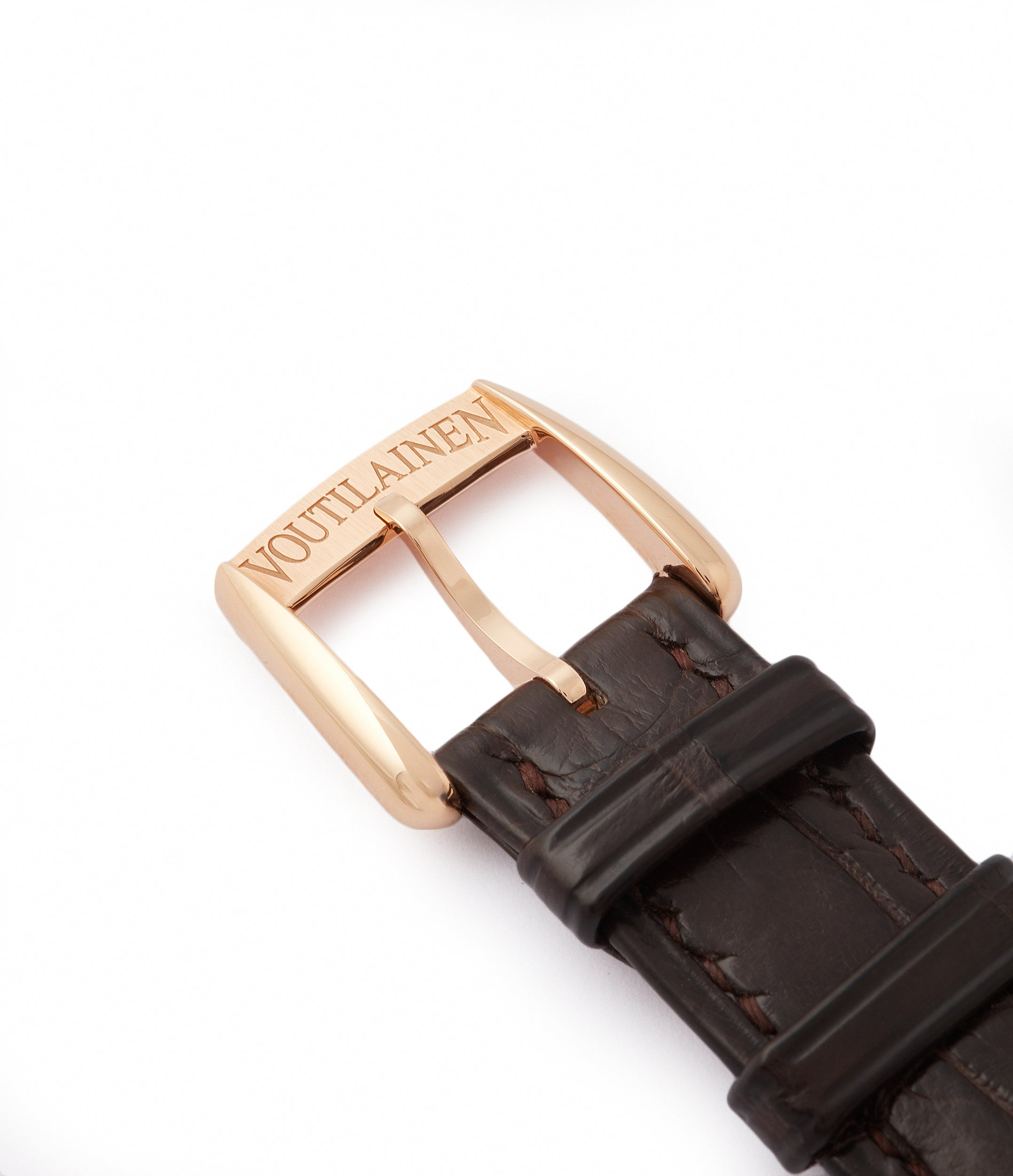 rose gold Voutilainen buckle Vingt-8 rose gold dress watch with brown guilloche dial for sale at A Collected Man London approved re-seller of preowned Voutilainen watches