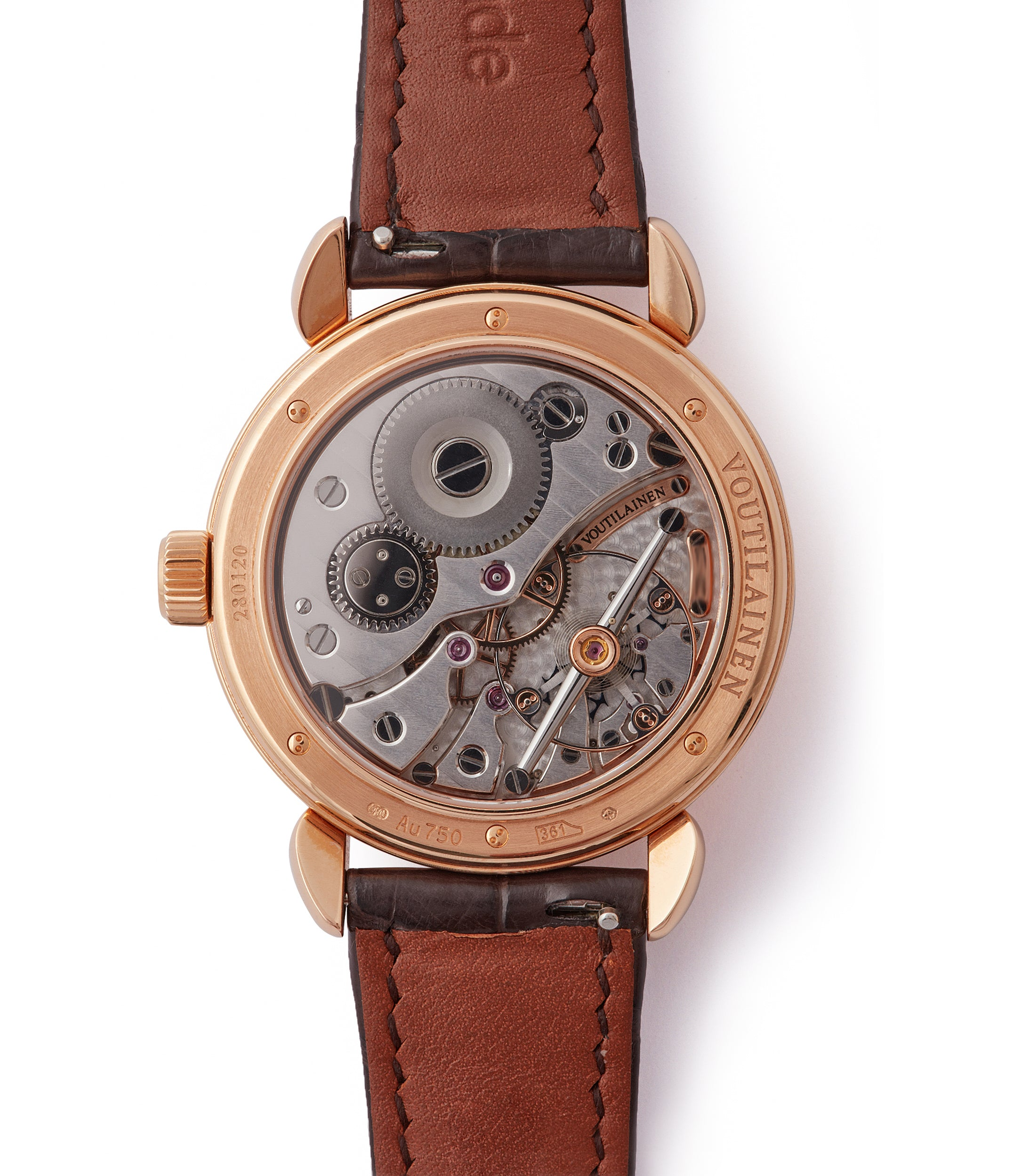 Kari Voutilainen watchmaking by hand Cal. 28 Vingt-8 rose gold dress watch with brown guilloche dial for sale at A Collected Man London approved re-seller of preowned Voutilainen watches