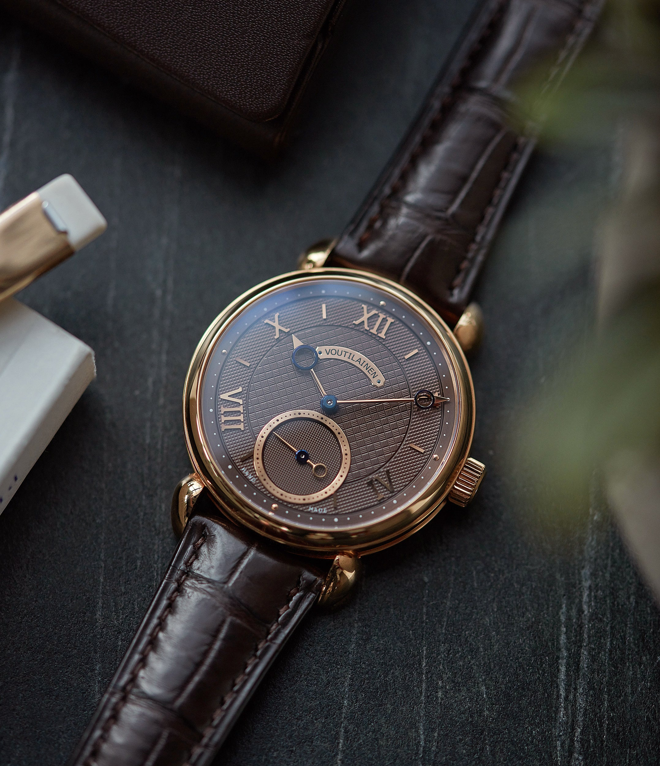 rare Voutilainen Vingt-8 Cal. 28 rose gold dress watch with brown guilloche dial for sale at A Collected Man London approved re-seller of preowned Voutilainen watches
